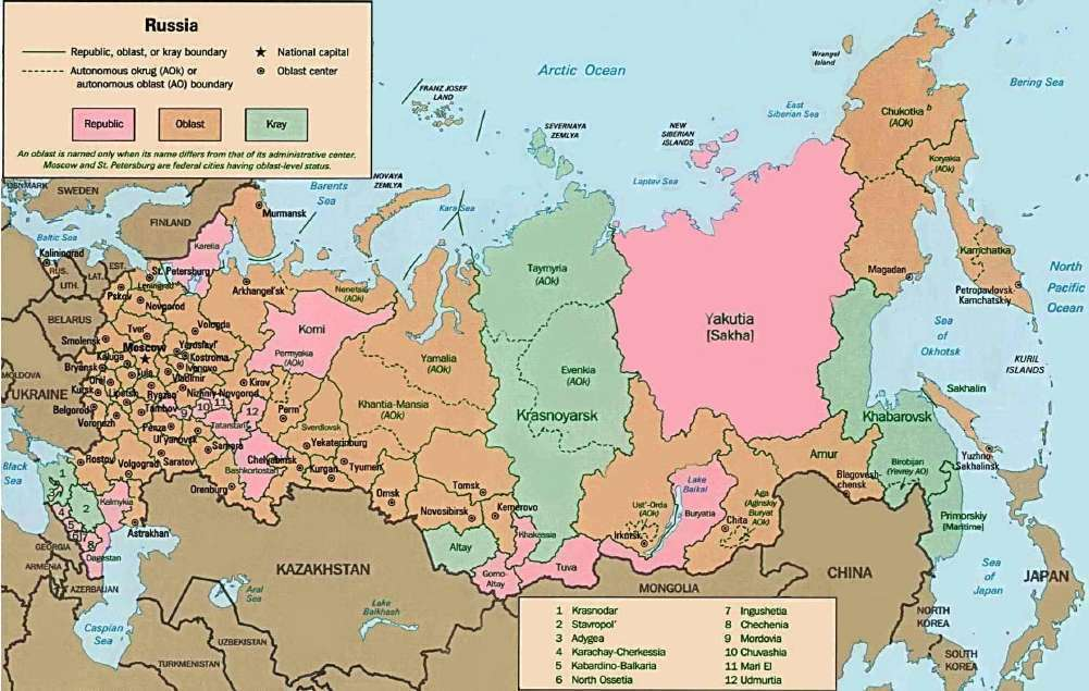 Map Of Russian Federation - Russian federation map
